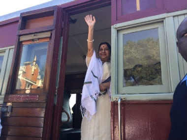 External Affairs Minister Sushma Swaraj took a train journey from Pentrich station to Pietermaritzburg. Image courtesy: @SushmaSwaraj/Twitter