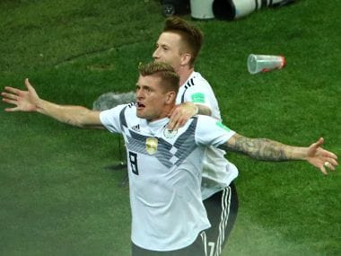 Germany's Toni Kroos celebrates after scoring against Sweden. Reuters