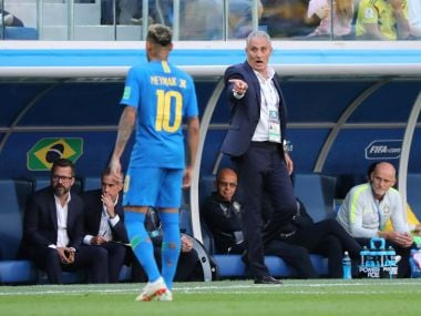 Brazil coach Tite gestures to Neymar during the match against Costa Rica. Reuters