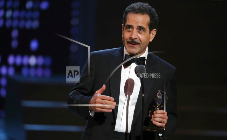 Tony Shalhoub accepts the Tony for Leading Actor in a musical for The Band's Visit. AP/ Michael Zorn