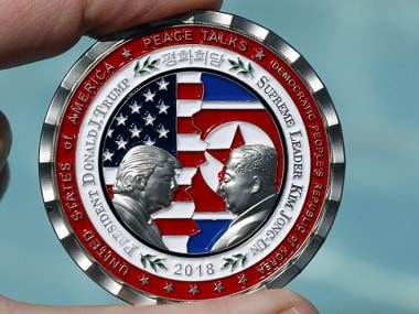 The commemorative coin issued ahead of the US-North Korea Summit. Reuters
