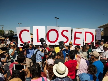 Protesters outside the US Immigration and Customs Enforcement processing centre in El Paso, Texas. AP