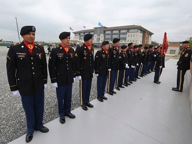 US Army soldiers at opening ceremony for the new headquarters of the US Forces Korea in South Korea. AP