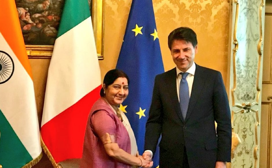 Swaraj visited the Italian prime minister Giuseppe Conte, on Monday and discussed forging and revitalising bilateral relationships. Twitter/@MEAIndia