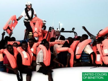 Migrants rescued by SOS Mediterranee featuring in Benetton's advertisement. Twitter/@benetton