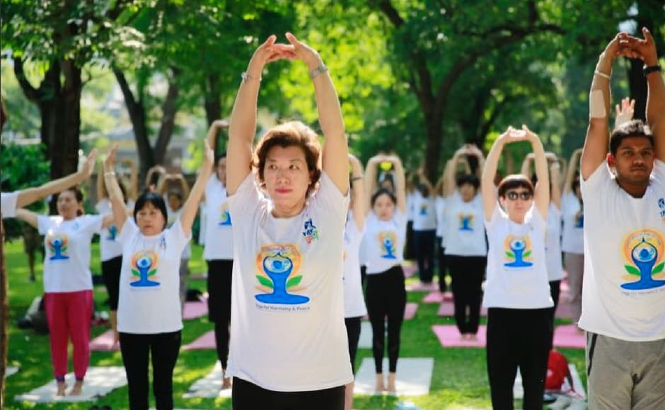 People also performed yoga at the India House in Beijing. Twitter/@PIB_India