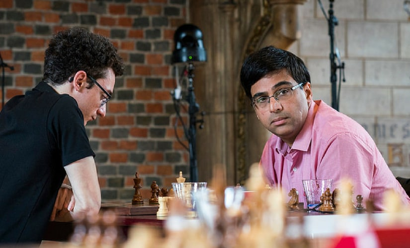 Anand won his first game of the tournament against Fabiano Caruana Image courtesy: Lennart Ootes