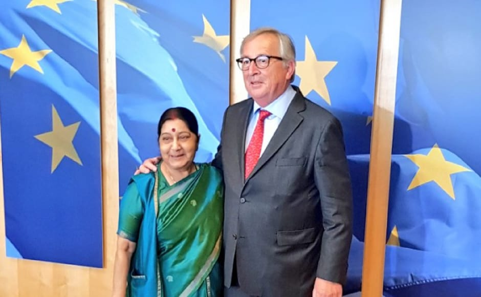 On Thursday in the last leg of her tour, Swaraj met the President of the European Commission Jean-Claude Juncker. According to MEA spokesperson Raveesh Kumar, they spoke about exchanged views on progress made on the understandings reached during the last India-EU Summit in 2017. Twitter/@MEAIndia