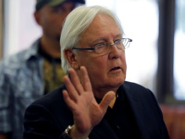 UN envoy Martin Griffiths holds talks in capital Yemeni Sanaa to discuss aid for the rebel-held port city Hodeida