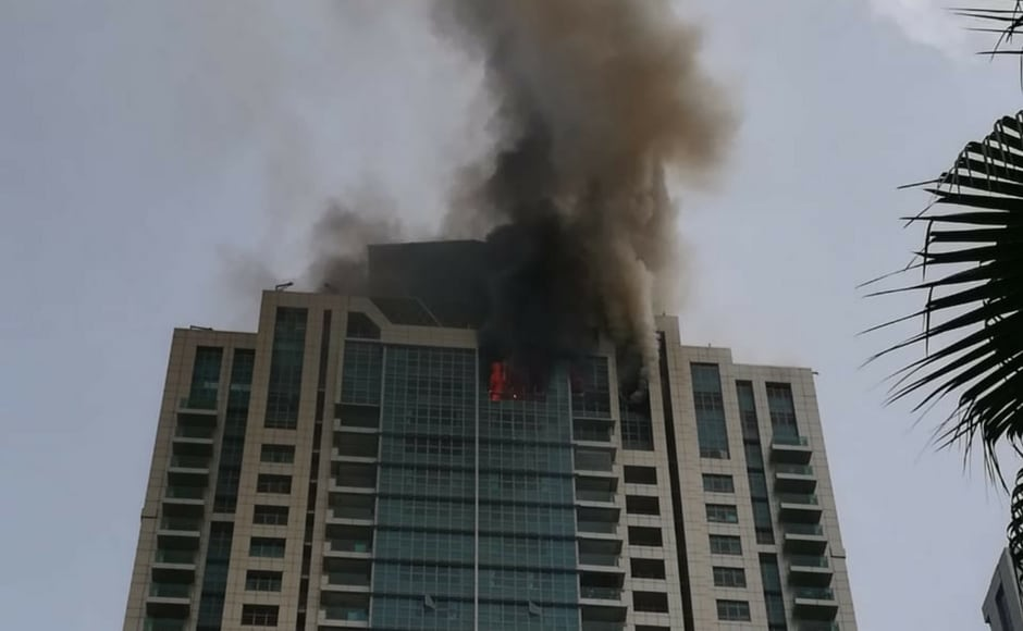 Mumbai Police said they are trying their best to douse the fire and provide necessary help to people there. The fire broke out on the 33rd floor of the building and the top two floors are badly affected. Image courtesy: Nevin Thomas