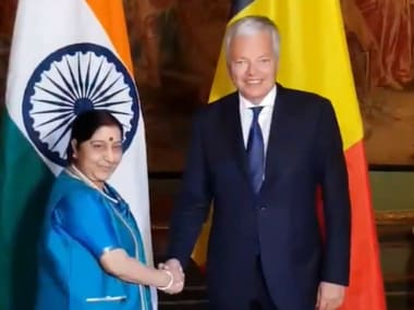 External Affairs Minister Sushma Swaraj met Belgian Deputy Prime Minister meets Foreign Minister Didier Reynders. Twitter/@MEAIndia
