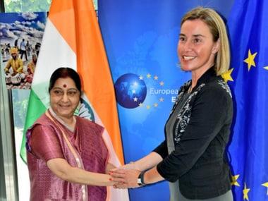 Sushma Swaraj meets her EU counterpart Federica Mogherini. Twitter/@MEAIndia