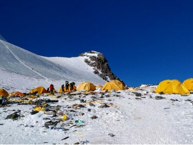 Discarded climbing equipment and rubbish scattered around Camp 4 of Mount Everest. AFP