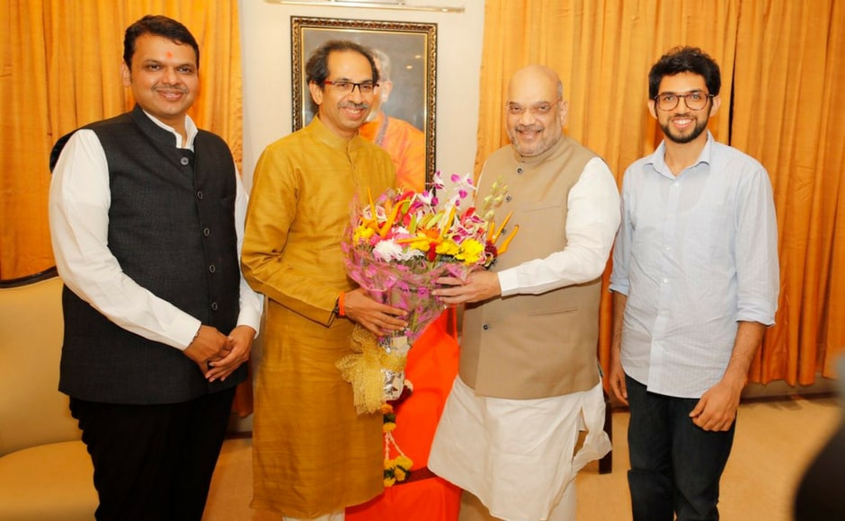 "BJP president Amit Shah had met Shiv Sena Uddhav Thackrey at his residence in 'Matoshree' on Thursday as a part of his ""Sampark se Samarthan"" (Contact for Support) campaign. Twitter/@AmitShah"