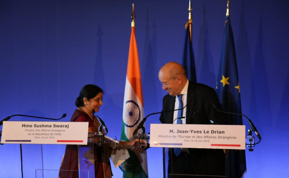 Swaraj and her Frenchcounterpart Jean-Yves Le Drian agreed that India and France will work to shape a strong development partnership, in the fields of smart urbanisation, science and technology, clean energy, transportation, and infrastructure sectors on Tuesday. Twitter/@MEAIndia