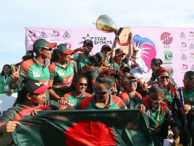 Bangladesh women with their maiden Asia Cup title. Image Courtesy: Twitter @ACCMedia1