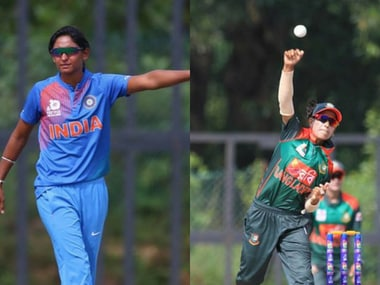 India captain Harmanpreet Kaur (L), Salma Khatun (R) Bangladesh skipper. Image courtesy: Facebook page Asia Cricket Council