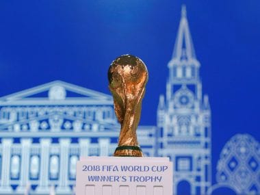 The 2018 FIFA World Cup Winner's Trophy on display. Reuters
