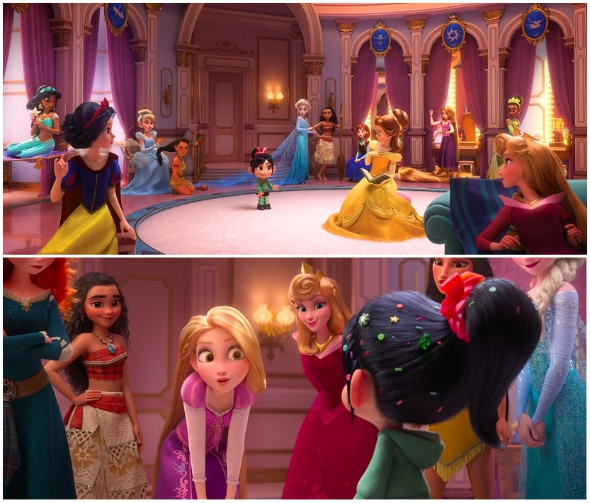 Vanellope sneaks into a dressing room full of Disney Princesses. Images from trailer