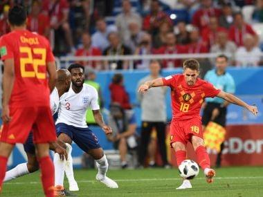 Belgium's Adnan Januzaj prepares to score against England on Thursday. AFP