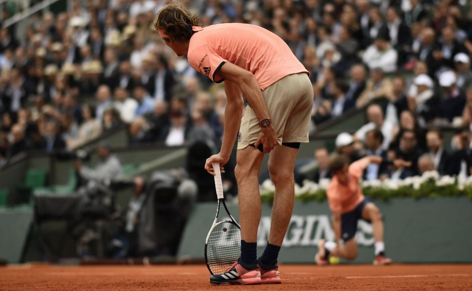 Zverev suffered a thigh injury in the second set which hampered his movement in the third set as Thiem won the match in three sets. AFP