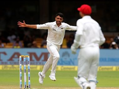 Yamin Ahmadzai became the first Afghan bowler to pick up a wicket in Test cricket. Image courtesy: Twitter @ICC