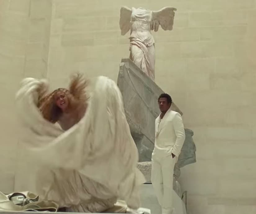 Beyonce and Jay-Z in a still from 'Ape Shit'. YouTube