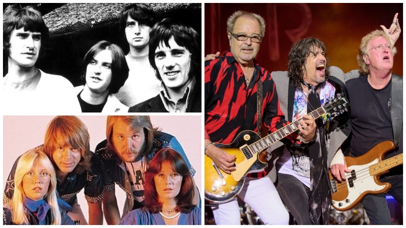(Clockwise from top left) The Kinks, Foreigner, ABBA. Images via Facebook