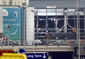 Broken windows seen at the scene of explosions at Zaventem airport near Brussels. Reuters
