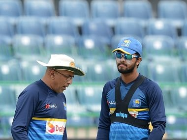File image of Sri Lanka captain Dinesh Chandimal and coach Chandika Hathurusingha. Image courtesy: Twitter @ICC