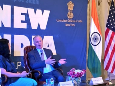 Chip Kaye at the New India lecture in New York. Photo courtesy, Indian consulate Twitter handle