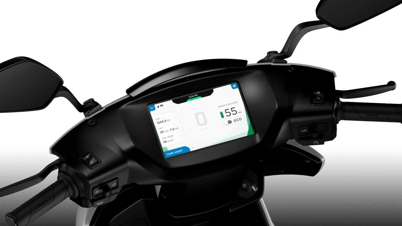 Dashboard of electric smart scooter.