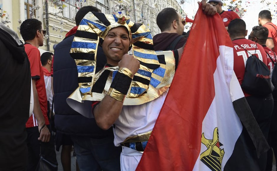 Egypt's national football team fans cheer on Nikolskaya street in downtown Moscow on 13 June, 2018, ahead of the Russia 2018 World Cup football tournament. AFP.