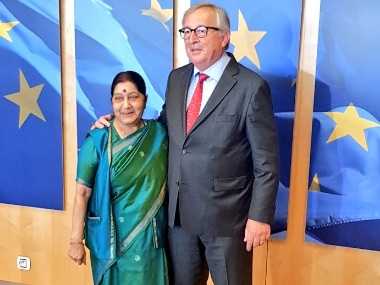 EAM Sushma Swaraj with President of European Commission Jean-Claude Juncker in Belgium. Image Courtesy: Twitter/@MEAIndia