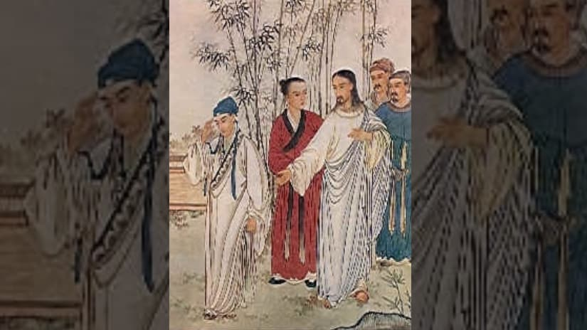 Chinese depiction of Jesus and the rich man (Mark 10), 1879, Beijing. Image via Wikimedia Commons