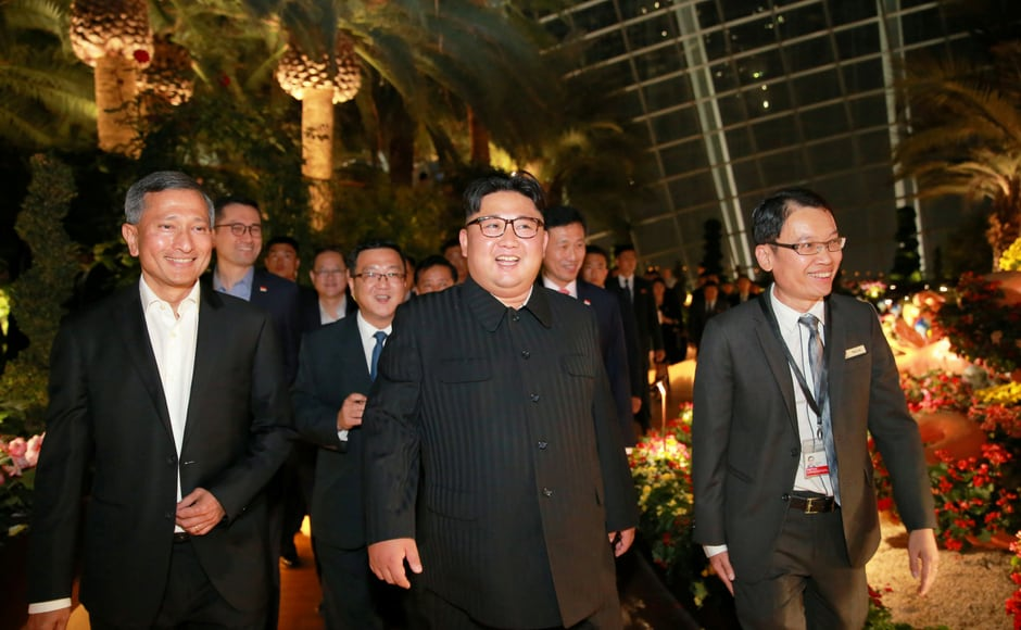 Kim arrived in Singapore on Sunday for a historic summit with US president Donald Trump on Tuesday aimed at getting North Korea to give up its nuclear weapons and missiles in exchange for economic incentives and security guarantees. KCNA via Reuters