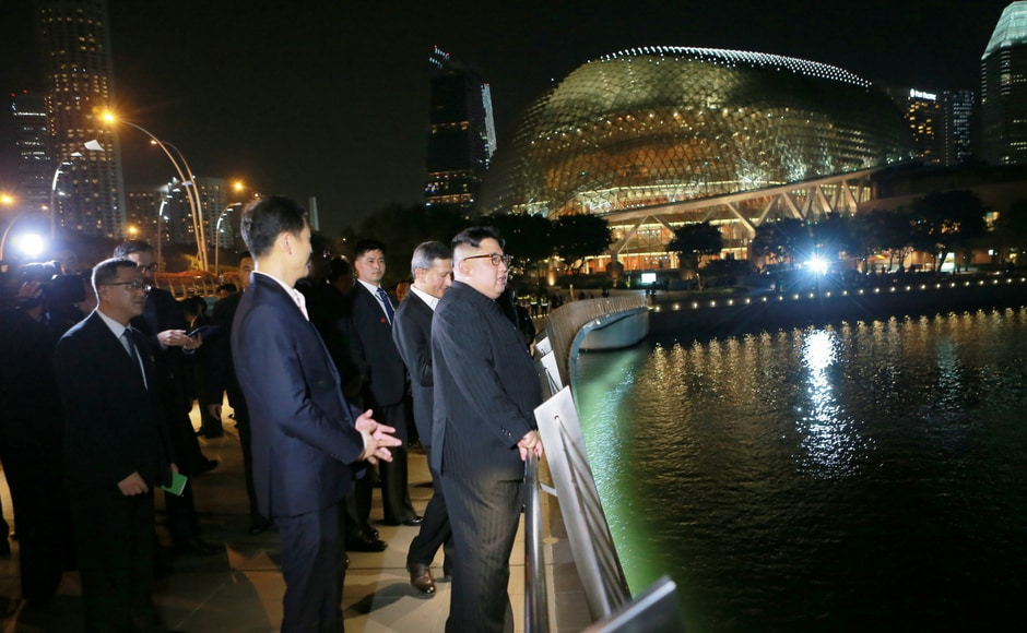 His first stop was Gardens by the Bay which boasts the largest glass greenhouse and tallest indoor waterfall in the world. He then stopped at the Marina Bay Sands hotel for a look out over the bright city lights from its rooftop garden and infinity swimming pool. KCNA via Reuters
