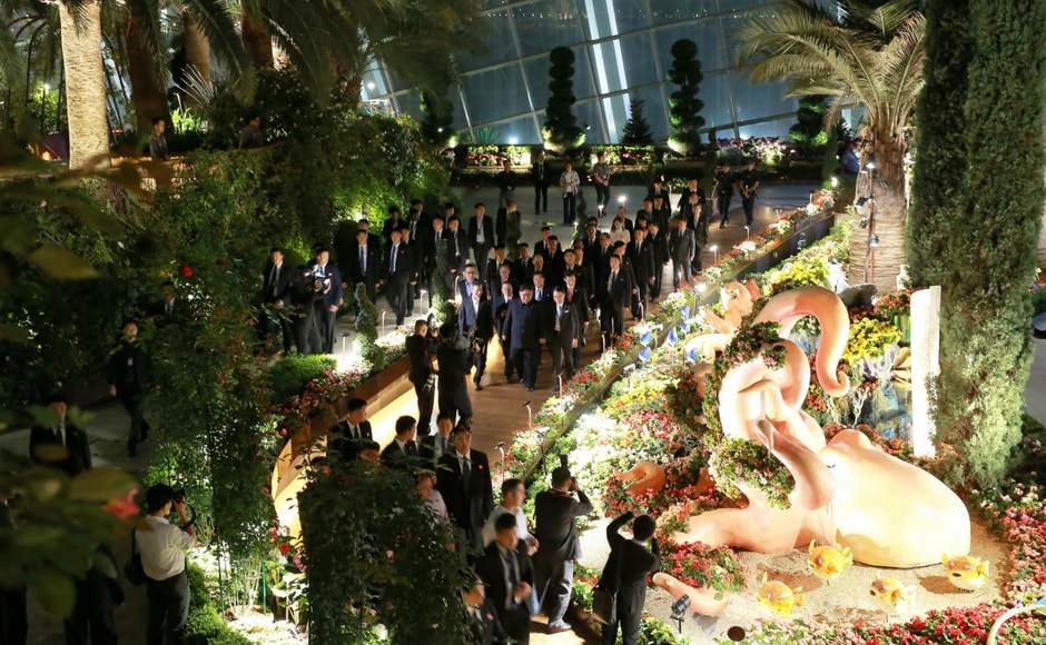 On the way back to his hotel, Kim walked along a promenade near the Merlion, a giant statue, and fountain, of a mythical creature, half lion, half fish — Singapore's unofficial mascot. KCNA via Reuters