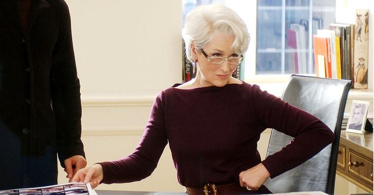 Meryl Streep as Miranda Priestly, the Editor-in-Chief of Runway magazine in the comedy-drama The Devil Wears Prada, based on Lauren Weisberger's novel of the same name. Image from Facebook