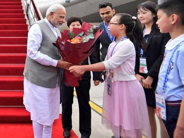 Narendra Modi being welcomed on his arrival in . Twitter/@MEAIndia