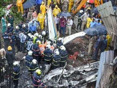 Rescue operations in progress after the plane crashed in Mumbai's Ghatkopar. PTI