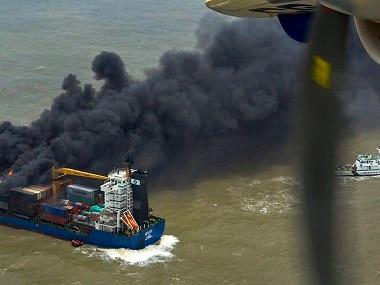 Indian Navy team sent on board container ship on fire to stop it from drifting towards Sunderbans, Bangladesh