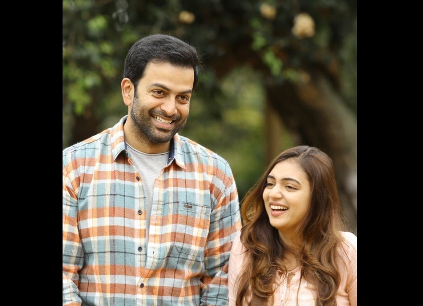 Prithviraj and NAzriya Nazm in Koode. Image from Twitter/@RobinBe47515103