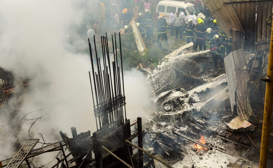 A 12-seater aircraft crashed in a crowded Mumbai suburb Ghatkopar on Thursday, killing both the pilots and two aircraft maintenance engineers on board. A pedestrian who came under the impact of the burning debris was also charred to death. However, a major tragedy was averted as the flight crashed at a deserted under-construction building amid a populated suburb with numerous high-rise residential towers. PTI
