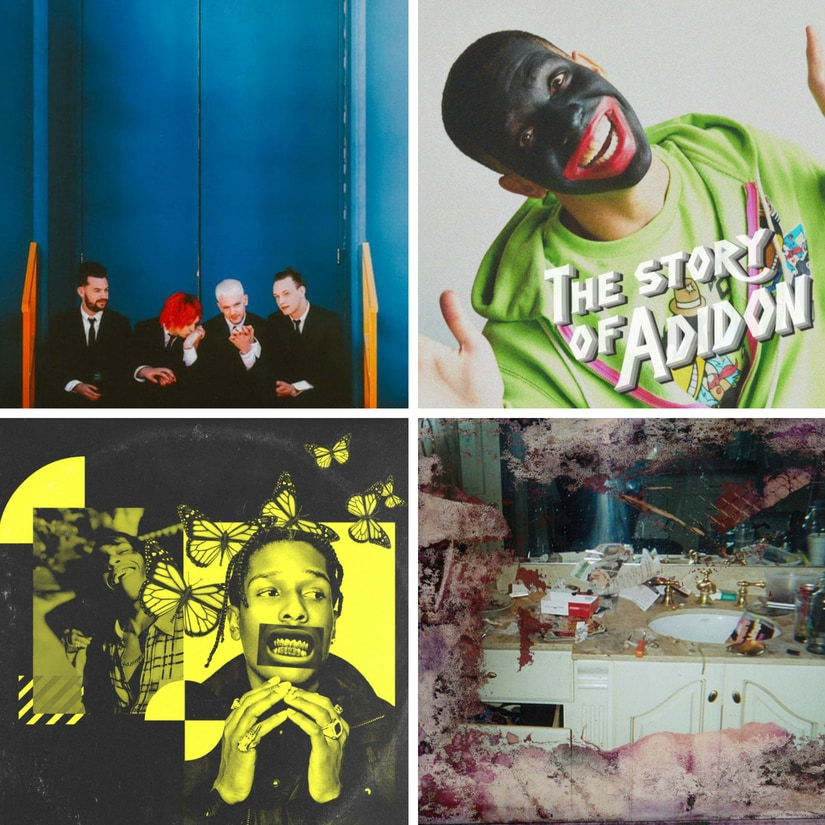 (clockwise) The 1975, 'The Story of Adidon' cover, A$AP Rocky's Testing, Daytona album cover/Images from Twitter.
