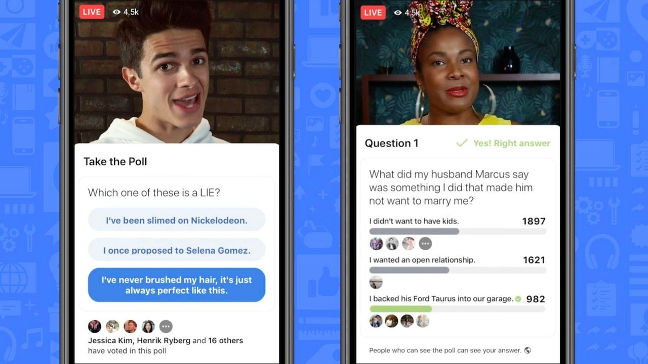 Facebook starts gamifying videos, adds support for quizzes and polls in lives