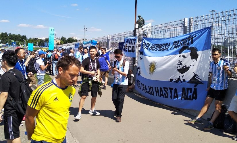 Argentinian fans colour the city blue and white. Image courtesy: Priyansh