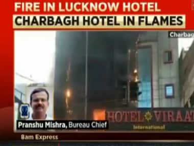 The front Hotel Viraat International in Lucknow, damaged by fire. Courtesy: Twitter/@News18