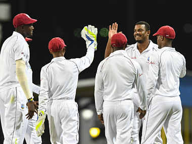 Shannon Gabriel of Windies celebrates the dismissal of Kusal Mendis of Sri Lanka during day 2 of the 3rd Test. AP