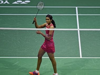 PV Sindhu will now play Carolina Marin in the quarterfinals. Image courtesy: Twitter @BAI_Media